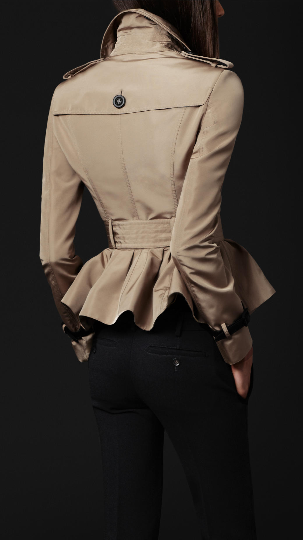 Burberry Prorsum Cropped Peplum Trench Coat In Natural Lyst