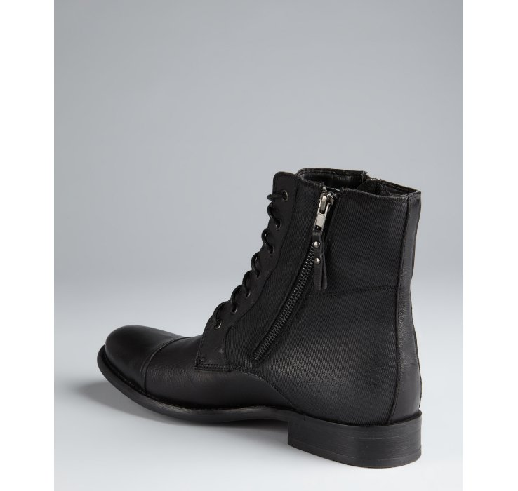afa171841eb Kenneth Cole Reaction Black Leather and Canvas Hit Men Laceup Boots ...