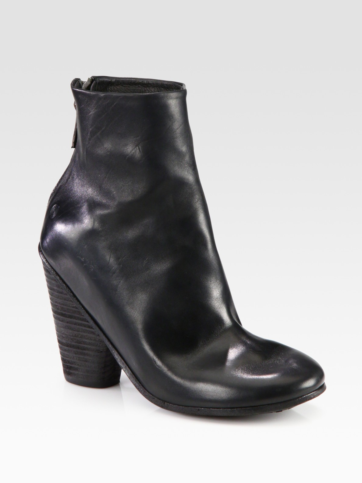 marsell leather slouchy ankle boots in black lyst