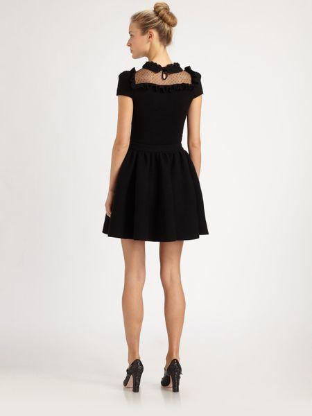 Red Valentino Merinowool Bow Dress In Black Lyst