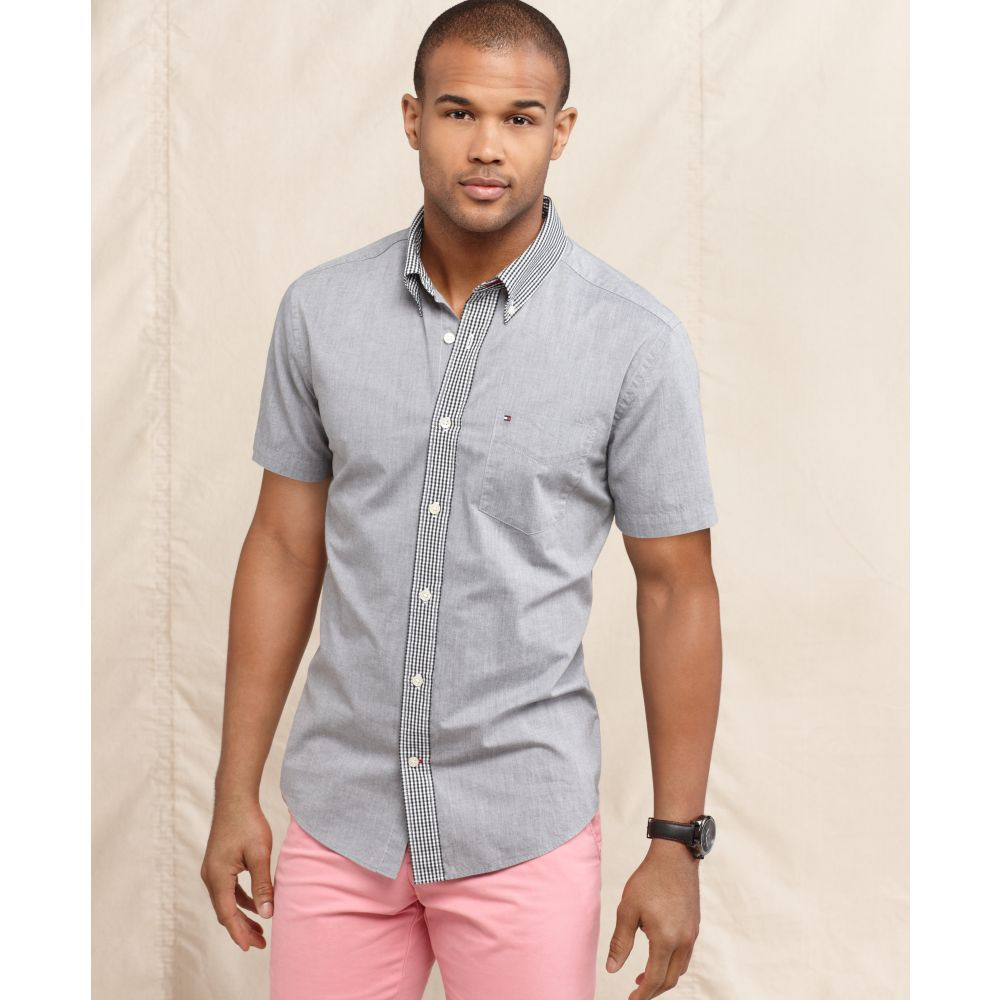 c2fb296e7a1c Lyst - Tommy Hilfiger Terrence Slim Fit Short Sleeve Shirt in Gray ...