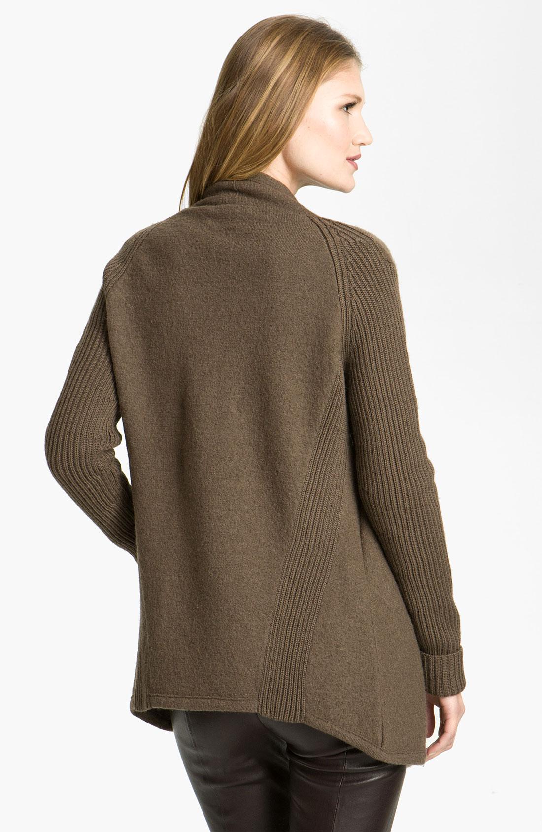 Vince Boiled Wool Sweater Jacket In Brown Brown Sugar Lyst