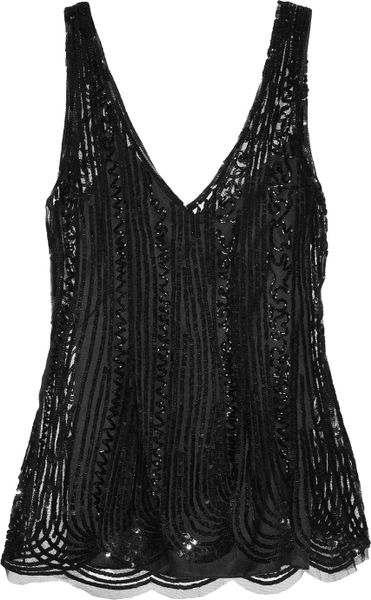Alberta Ferretti Sequined Tulle Top in Black