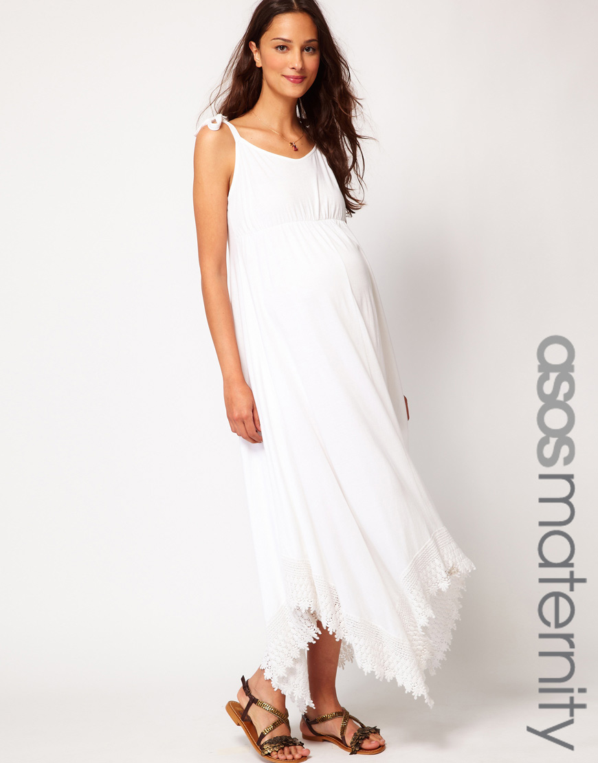 Asos Maxi Dress with Lace Trim in White | Lyst