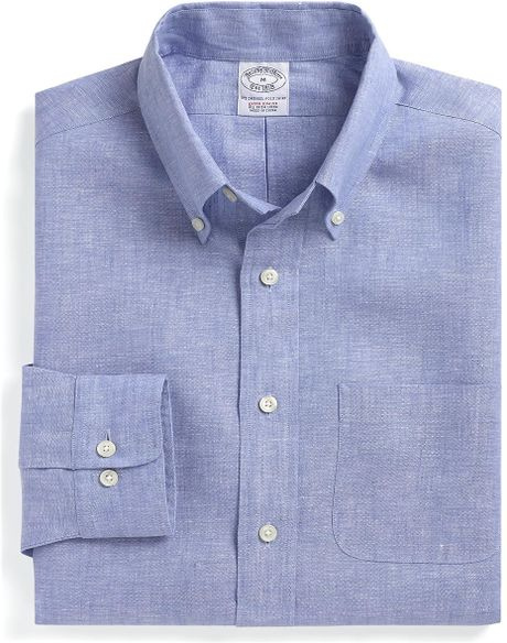 Brooks brothers extraslim fit chambray irish linen sport for Irish linen dress shirts