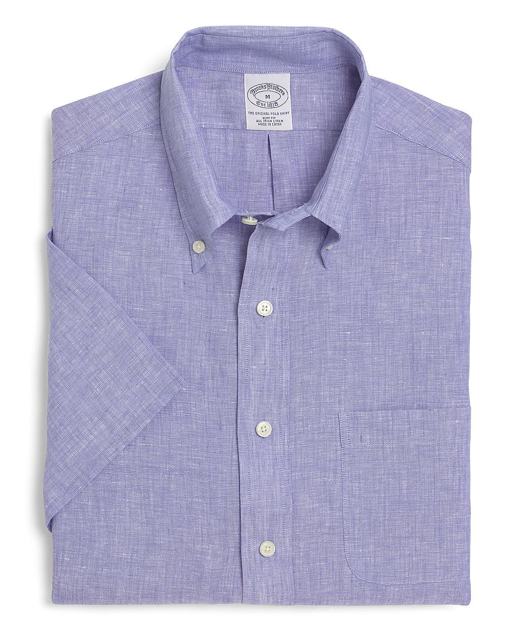 Brooks brothers slim fit irish linen short sleeve sport for Irish linen dress shirts