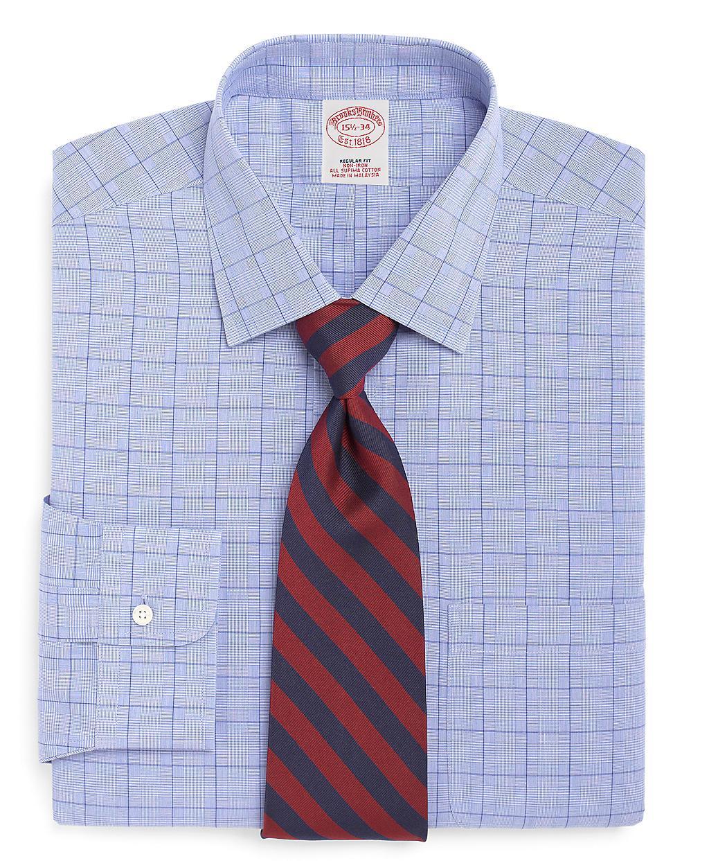 Brooks brothers supima cotton noniron extraslim fit glen for Supima cotton dress shirts