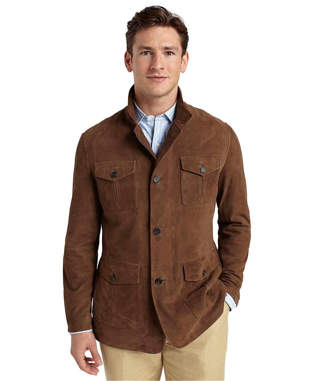 Lyst Brooks Brothers Suede Hybrid Jacket In Brown For Men