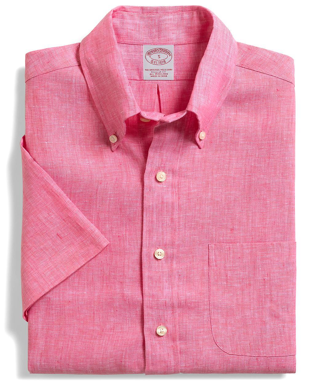 Brooks brothers regular fit irish linen short sleeve sport Brooks brothers shirt size guide