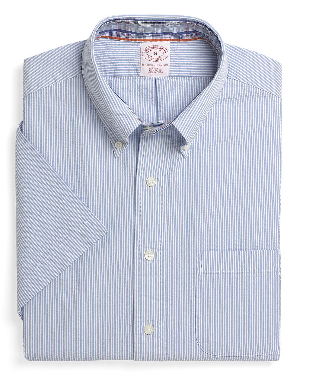 Brooks brothers regular fit short sleeve stripe seersucker for Brooks brothers dress shirt fit guide