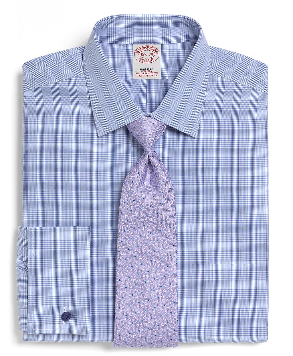 Brooks brothers supima cotton noniron extraslim fit bold for Light blue french cuff dress shirt