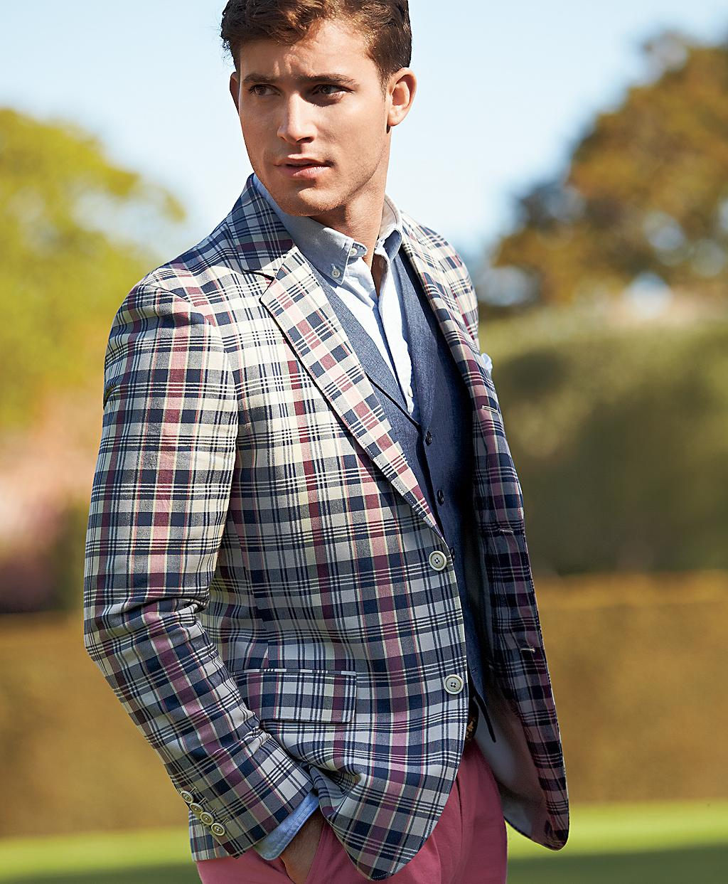 Lyst Brooks Brothers Fitzgerald Fit Twobutton Madras Sport Coat For Men