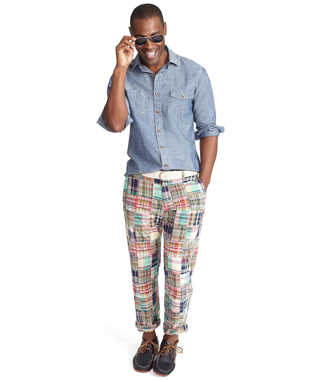 Brooks Brothers Clark Plainfront Patchwork Madras Pants
