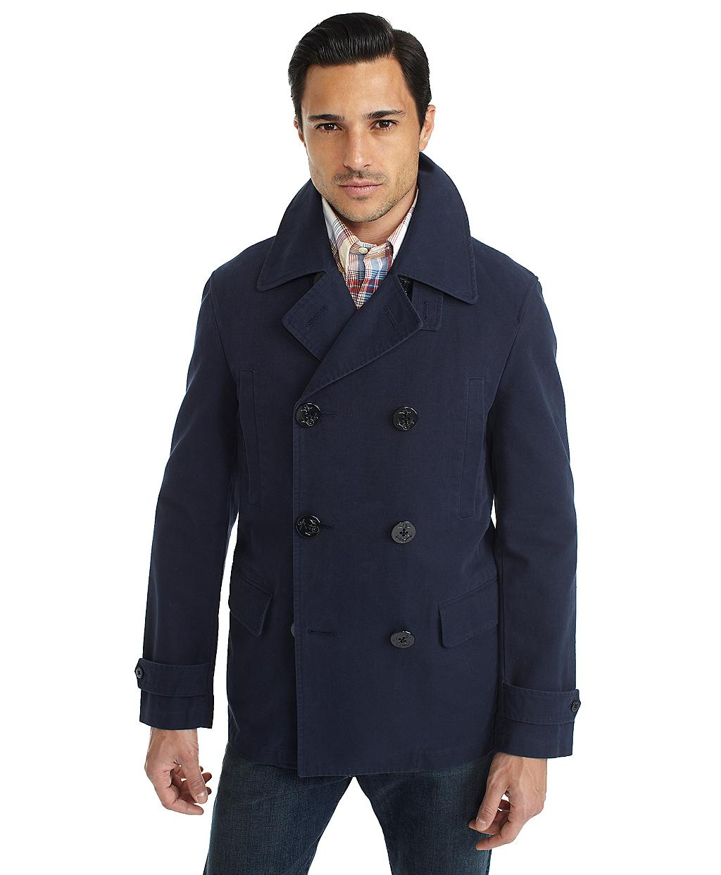 Brooks brothers Cotton Canvas Pea Coat in Blue for Men | Lyst