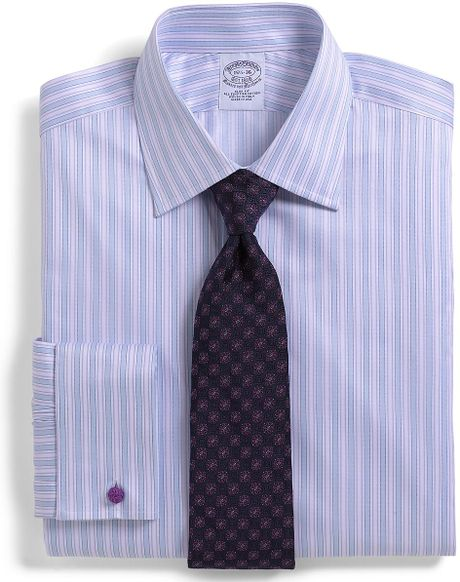 Brooks brothers allcotton slim fit track stripe french for French cuff slim fit dress shirt