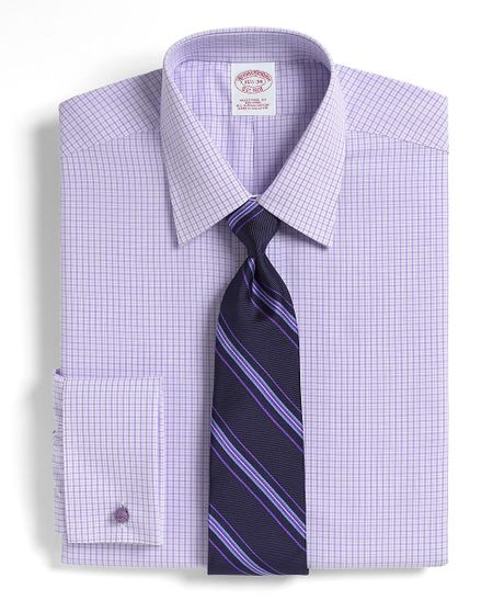 Brooks brothers noniron traditional fit thick and thin for Purple french cuff dress shirt