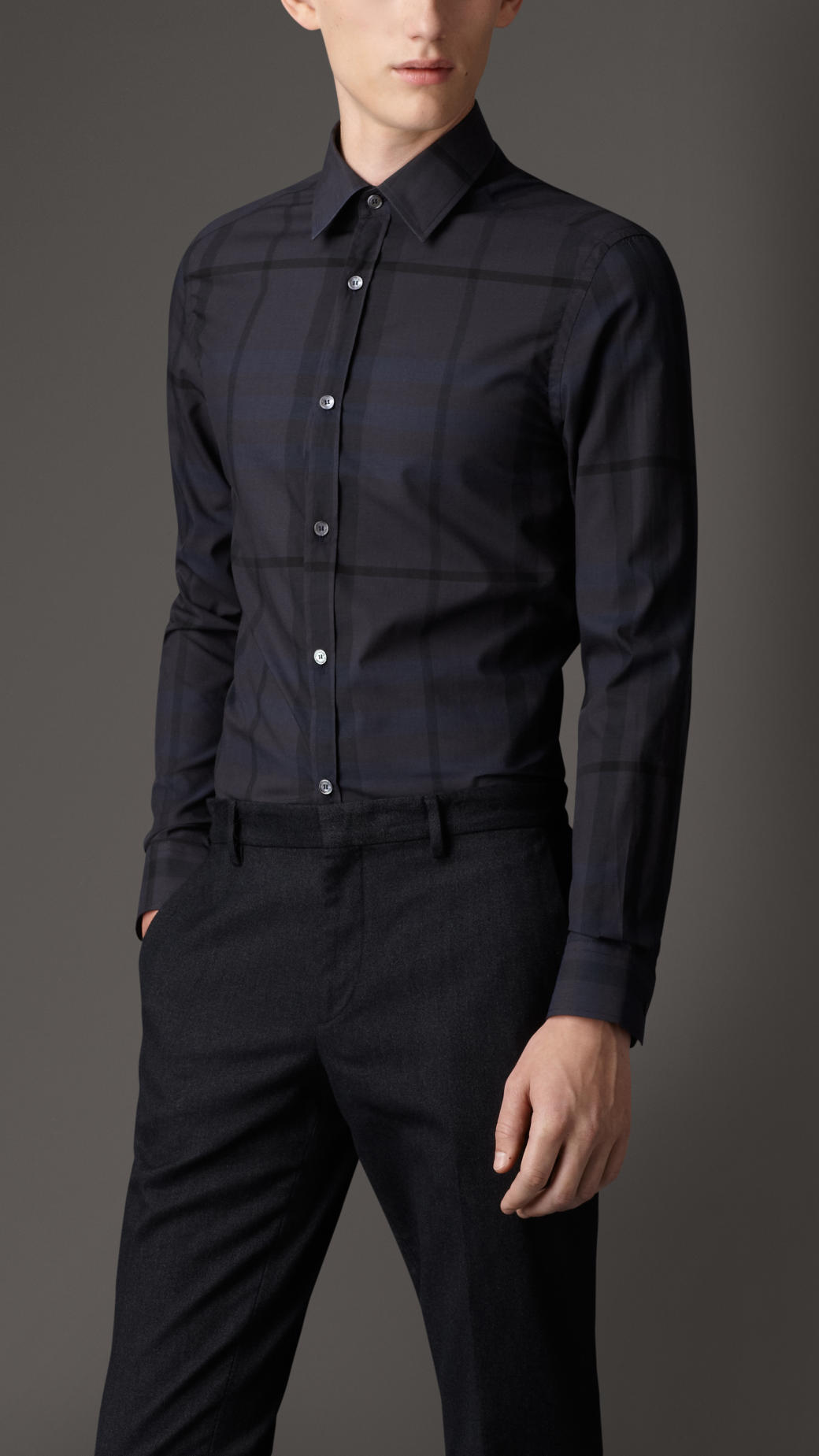Lyst - Burberry Tailored Fit Beat Check Shirt in Blue for Men