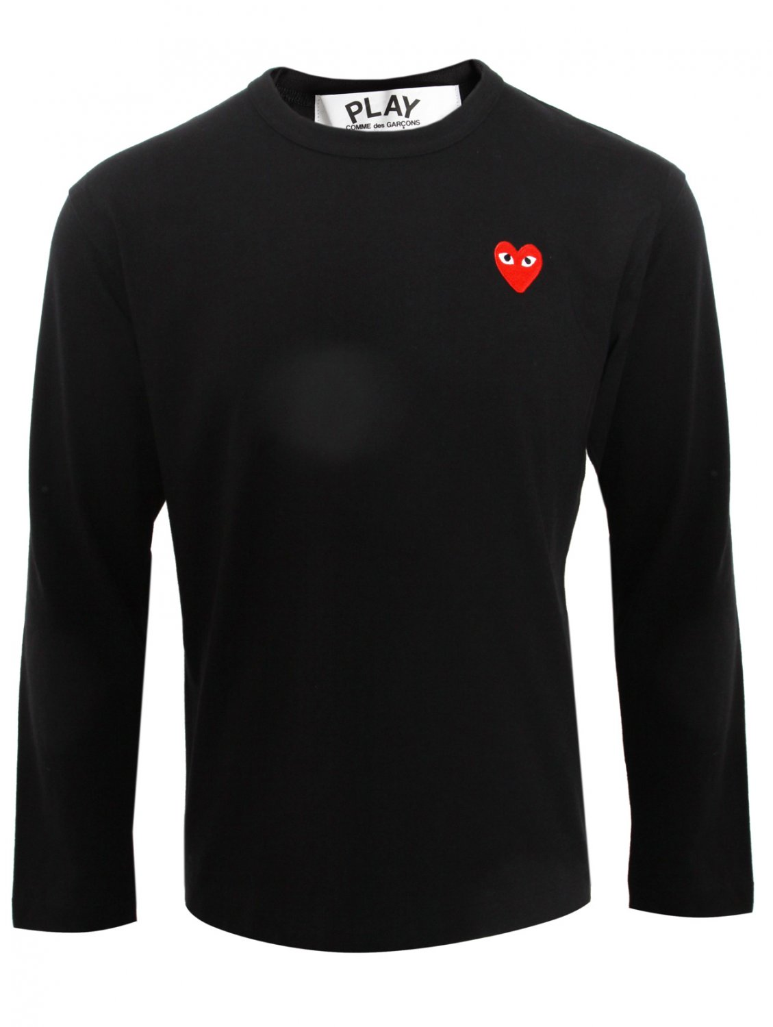 comme des gar ons play mens ls red heart logo t shirt in. Black Bedroom Furniture Sets. Home Design Ideas