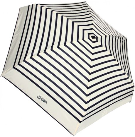 Jean Paul Gaultier Striped Folding Umbrella Creamnavy in Beige (cream)