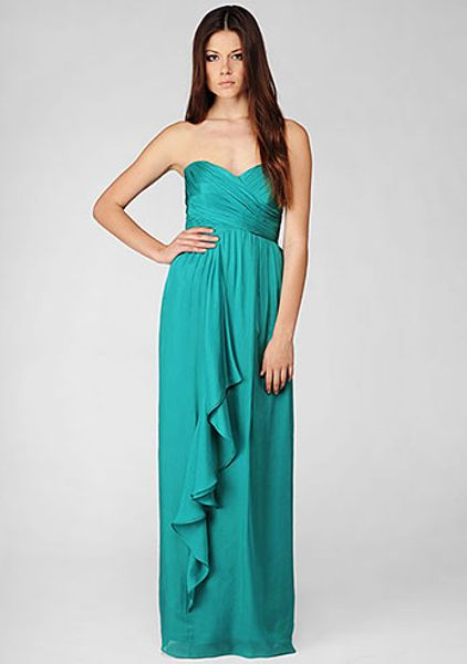 Nicole Miller Silk Chiffon Strapless Gown in Green (sea glass)