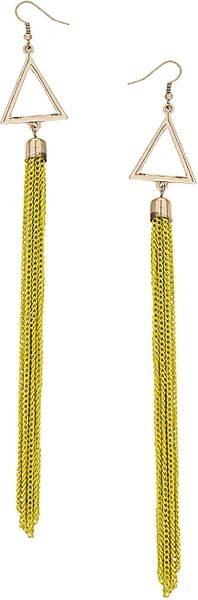 Topshop Triangle Tassel Earrings in Green (lime) - Lyst