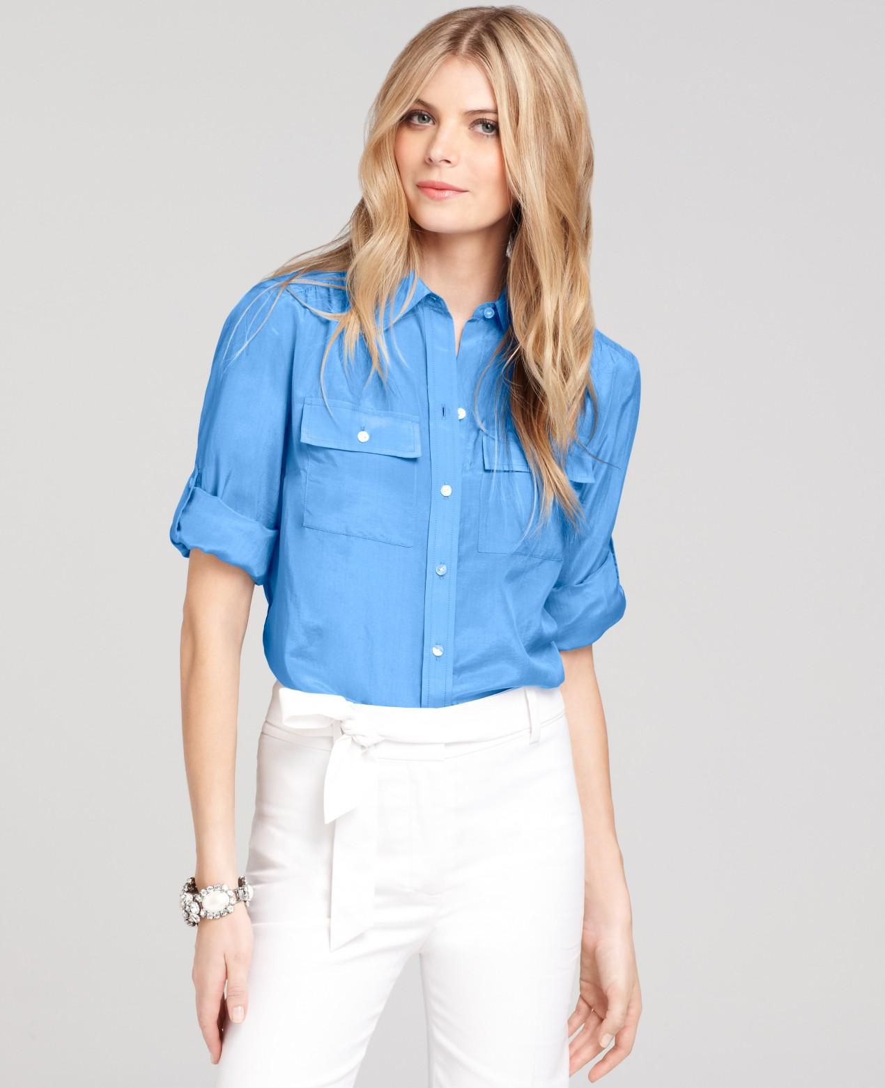 73372e32b7895 Lyst - Ann Taylor Petite Silk Cotton Button Down Camp Shirt in Blue