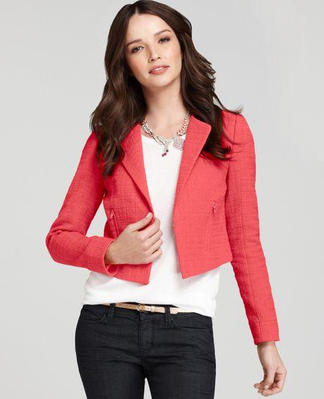 Ann Taylor Modern Tweed Jacket in Pink (coral reef)
