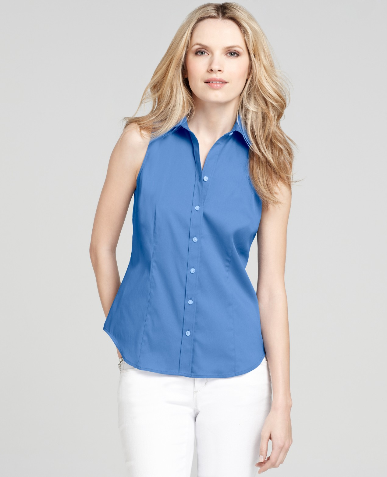 Ann taylor Stretch Cotton Sleeveless Button Down Shirt in Blue | Lyst