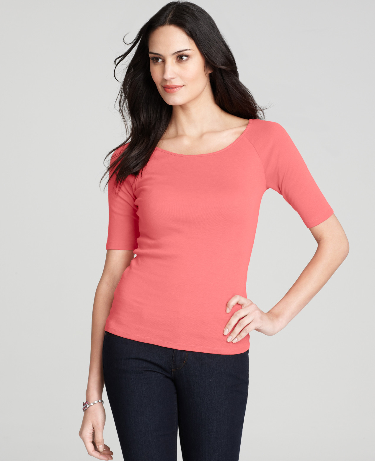 Ann Taylor Petite Ballet Neck Short Sleeve Tee In Pink