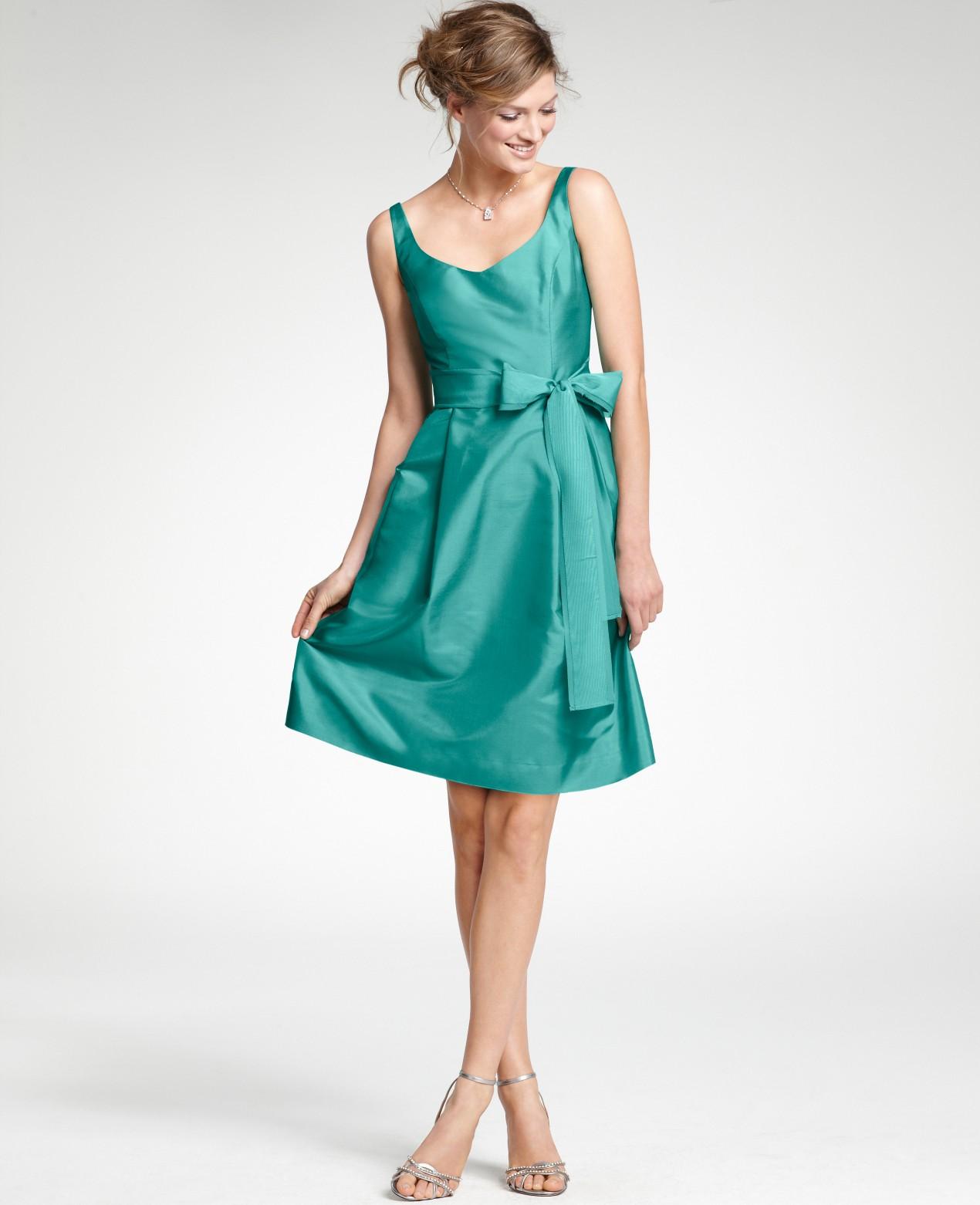 Lyst - Ann Taylor Silk Dupioni Vneck Bridesmaid Dress in Green