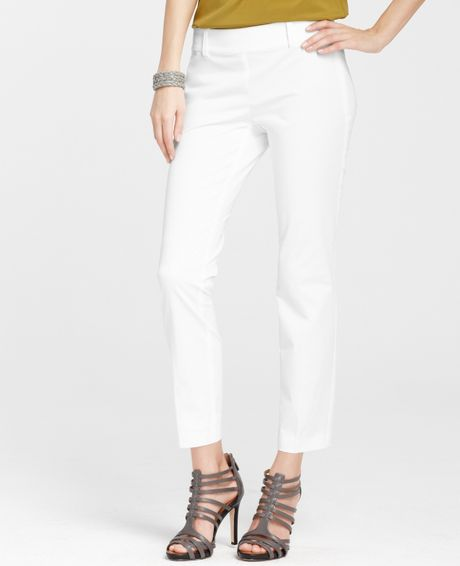 Ann Taylor Petite Cotton Side Zip Cropped Pants In White