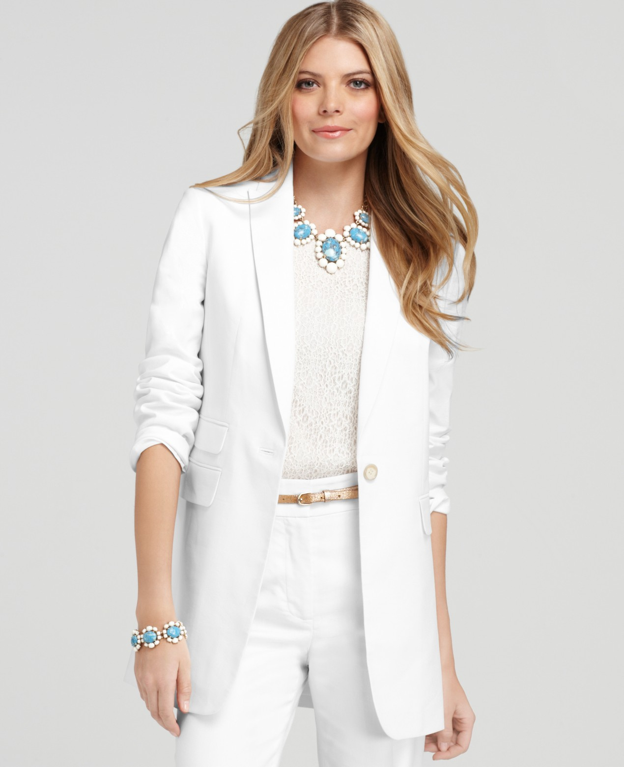 Ann taylor Petite Stretch Linen Twill Long Jacket in White | Lyst