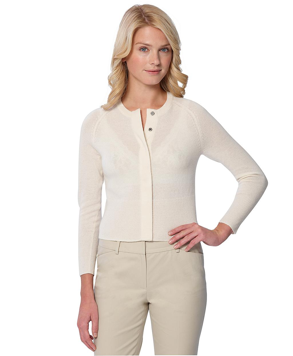 Brooks brothers Cashmere Cardigan Sweater in Natural | Lyst