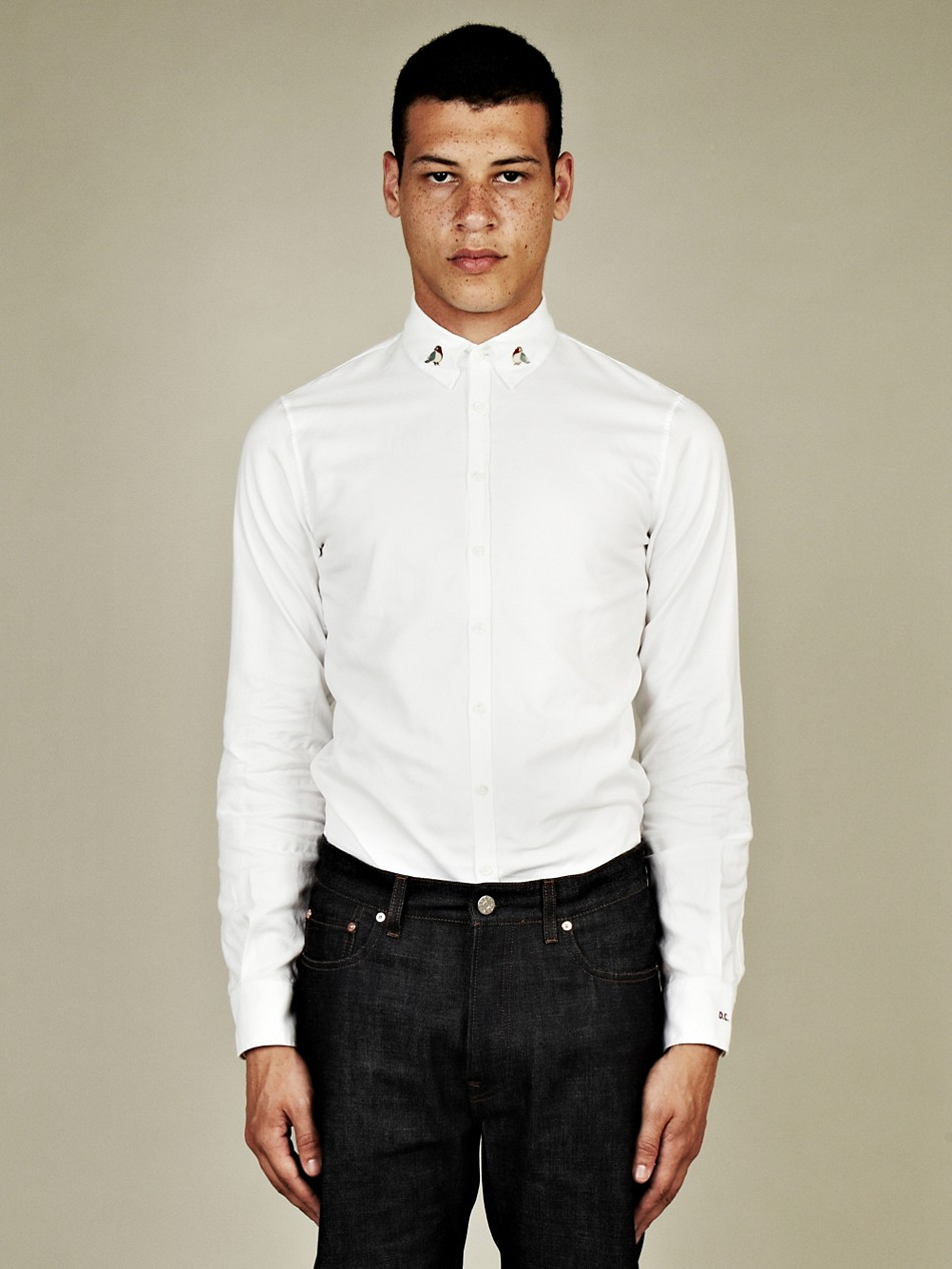 Dsquared dsquared2 mens bird pin collar oxford shirt in for White oxford shirt mens