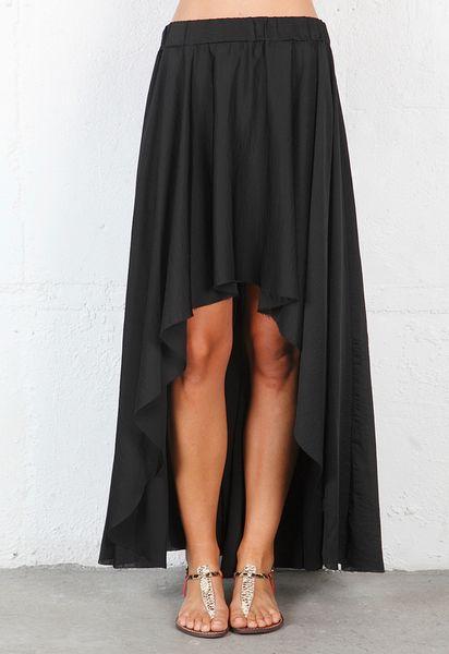 enza costa high low skirt in black in black lyst