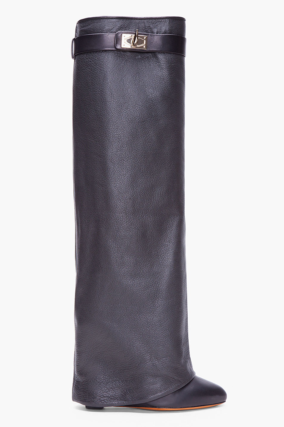 givenchy black leather shark tooth boots in black lyst