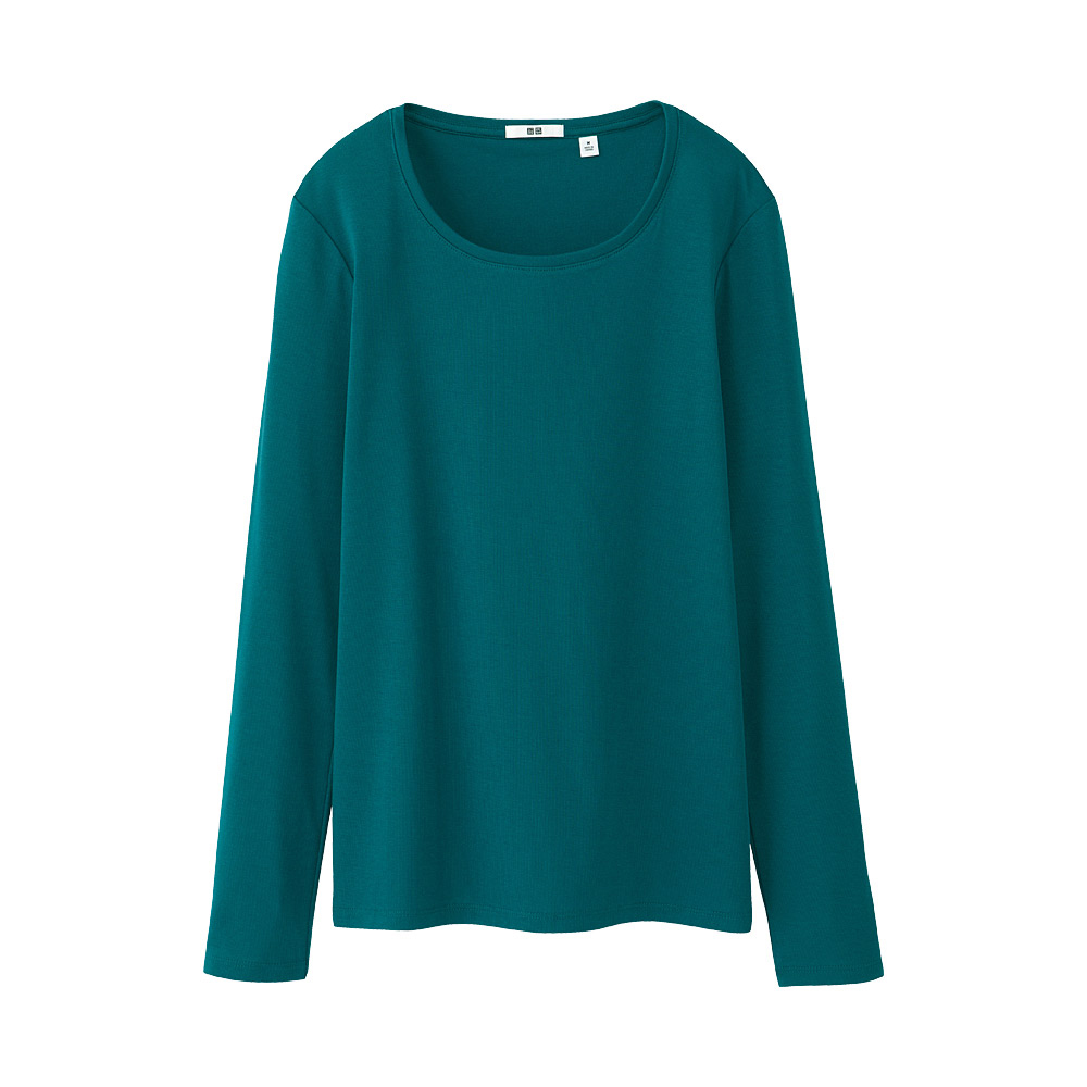 Uniqlo women premium cotton crew neck long sleeve t shirt for Michael stars t shirts on sale