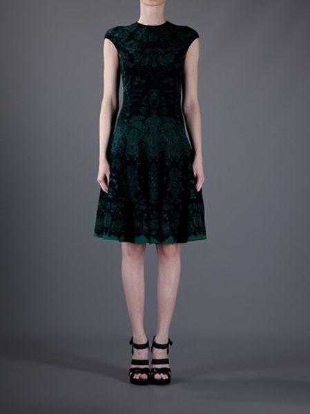 Alexander Mcqueen Knitted Skater Dress In Green Lyst