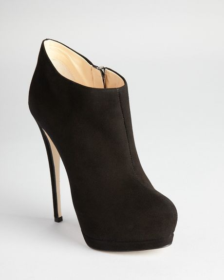 giuseppe zanotti booties high heel in black black suede