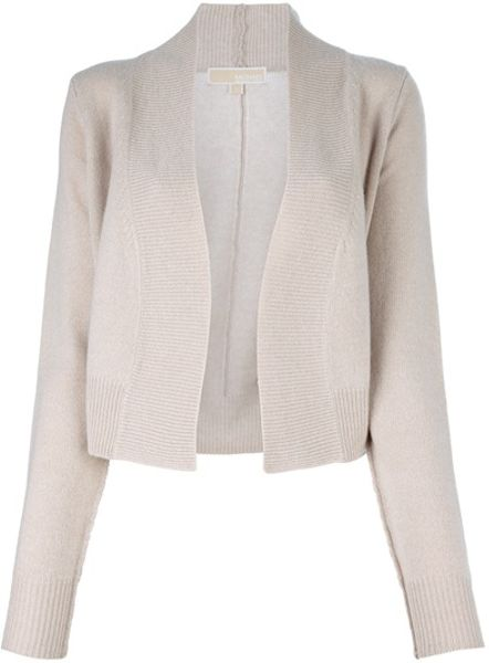 Michael Kors Open Front Cardigan in Beige