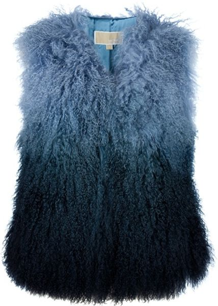 Michael Kors Tiedye Shaggy Gilet in Blue - Lyst
