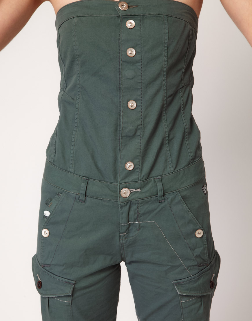 g star raw gstar jumpsuit in green lyst. Black Bedroom Furniture Sets. Home Design Ideas