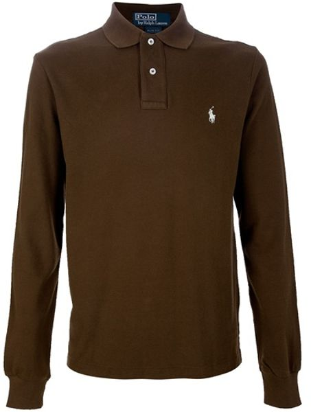 Polo Ralph Lauren Long Sleeve Polo Shirt In Brown For Men