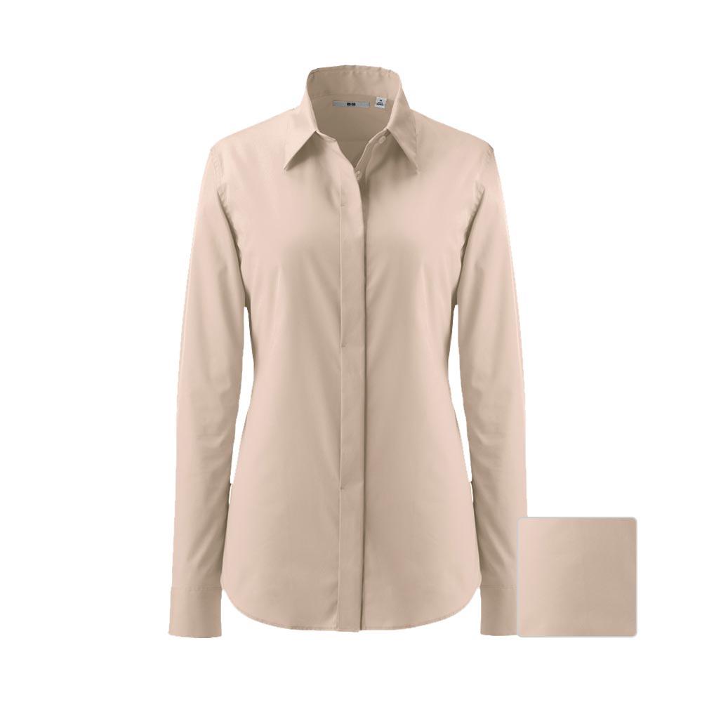 Uniqlo women uv cut stretch broadcloth flyfront long for Uv long sleeve shirt womens