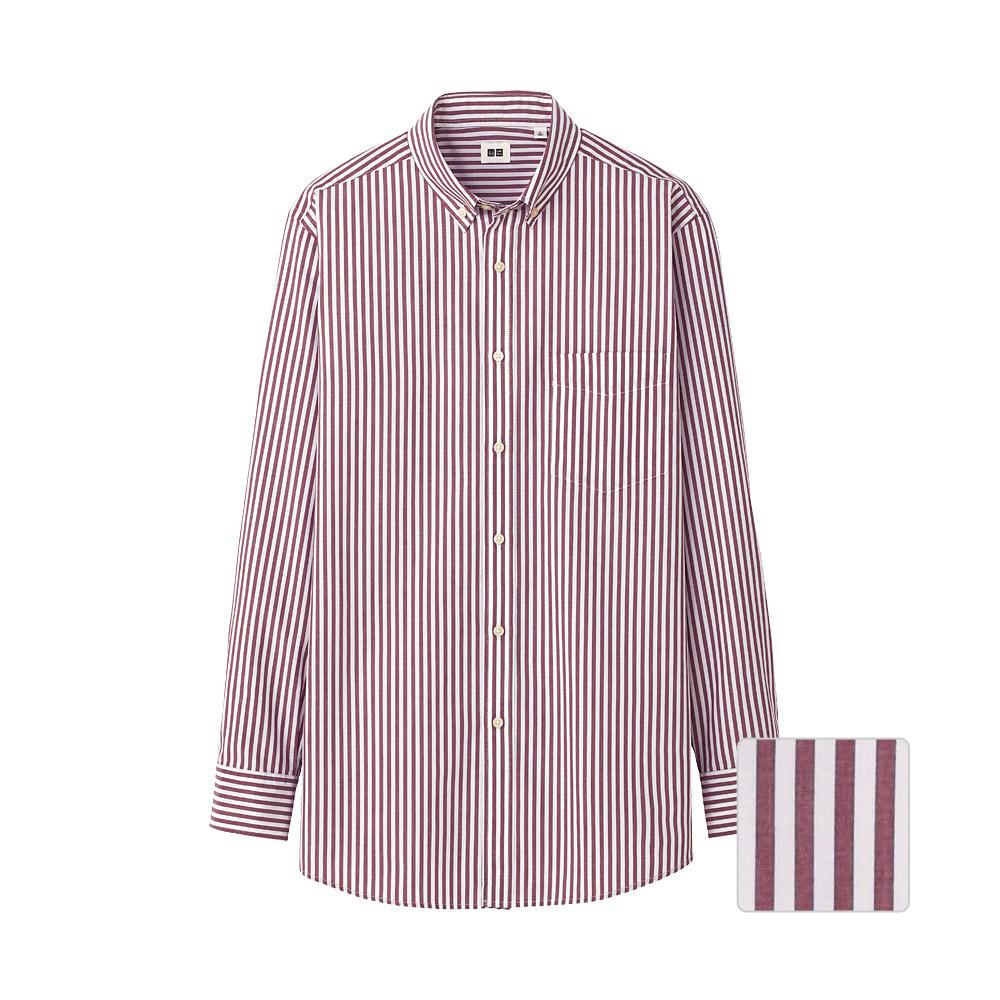 Uniqlo Men Extra Fine Cotton Broadcloth Stripe Long Sleeve