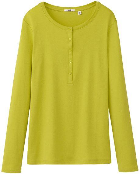 Uniqlo Women Premium Cotton Henley Neck Long Sleeve T