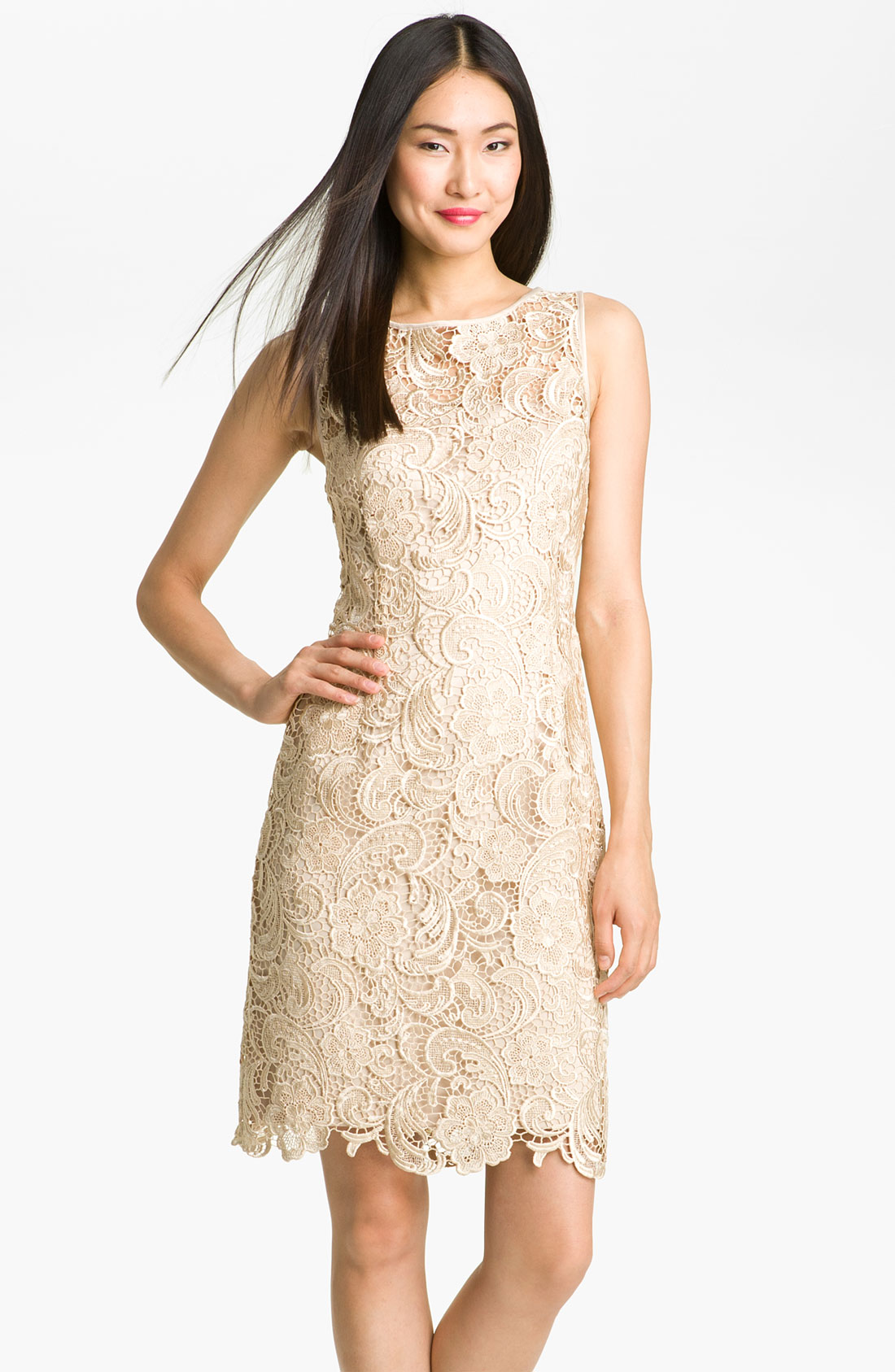 Adrianna papell illusion bodice lace sheath dress in beige for Lace champagne wedding dress