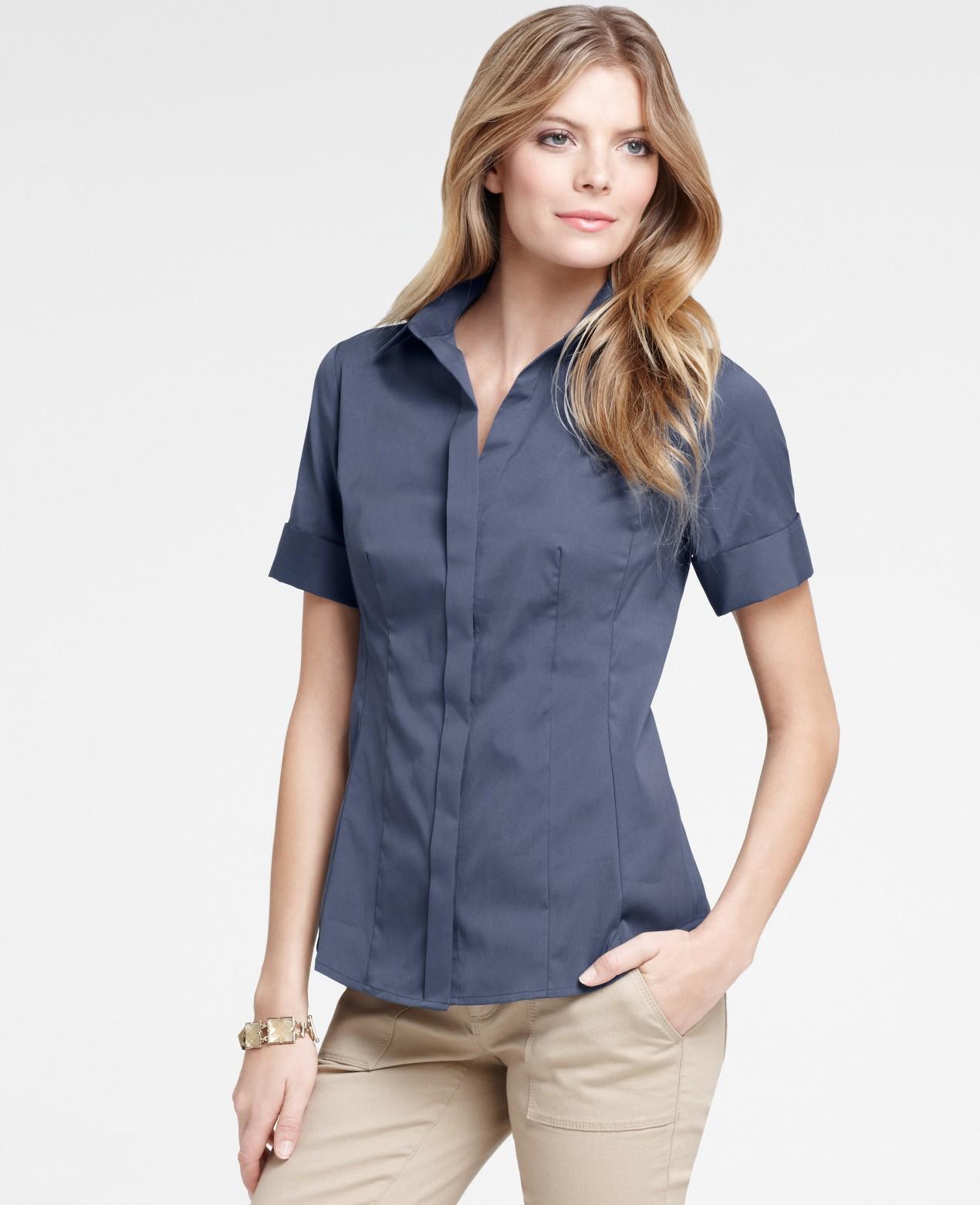 ann taylor petite stretch cotton short sleeve button down