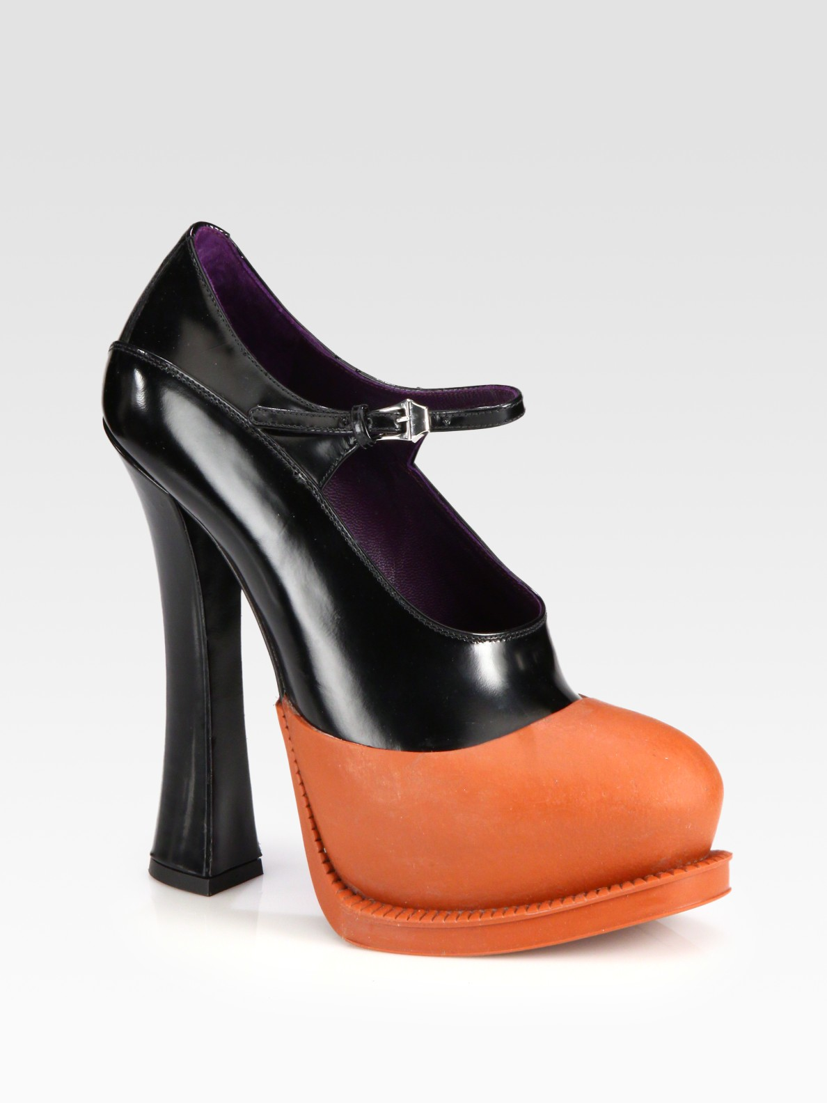 4331c1d9e5b0 Lyst - Prada Bicolor Leather Mary Jane Platform Pumps in Black