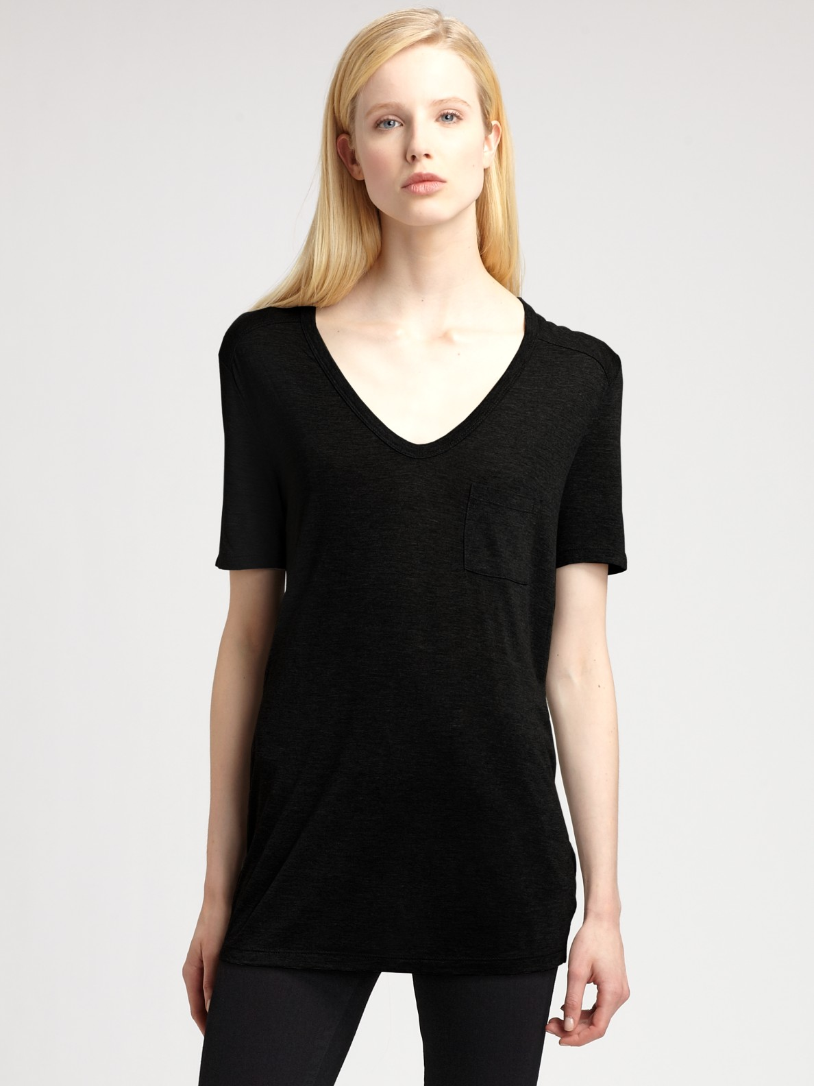 lyst t by alexander wang classic pocket tee in black. Black Bedroom Furniture Sets. Home Design Ideas
